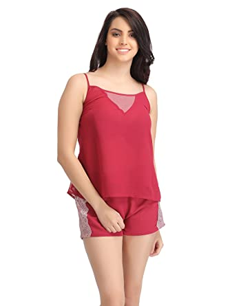 500a689539aa Clovia Women's Georgette Top & Shorts Set: Amazon.in: Clothing & Accessories