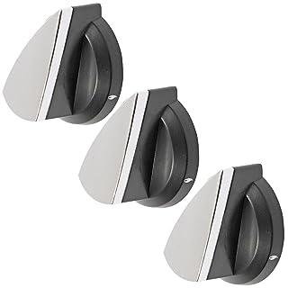 Spares2go llama Interruptor pomos para Falcon Horno/Cocina (plata, negro, pack de 3)