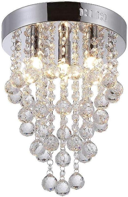Crystal Ceiling Light,Modern Chandeliers with Crystal Droplets,Chrome Finish,Elegant Flush Mount Ceiling Lighting for Bedroom, Living Room, Bathroom,