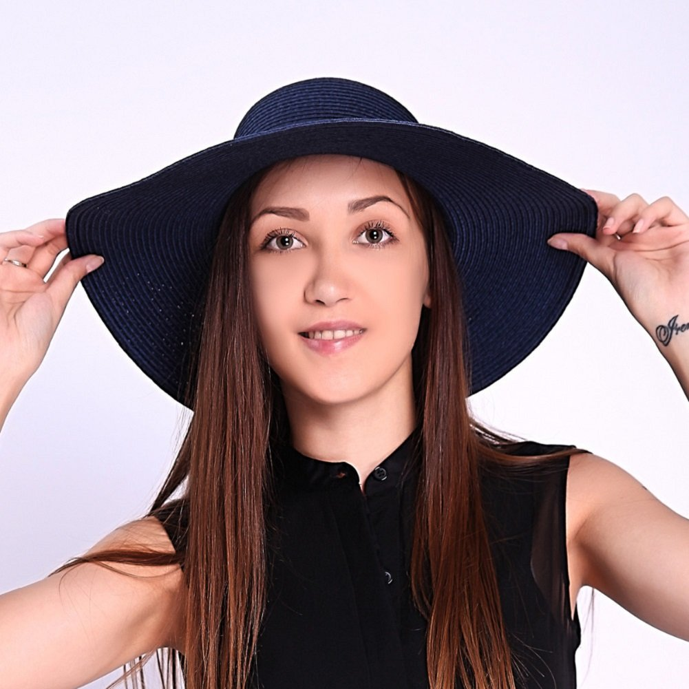 JOOWEN Sun Visor Hat Wide Brim Cap Floppy Foldable Beach Straw Hats for  Women (Blue) at Amazon Women s Clothing store  f8537d33b61