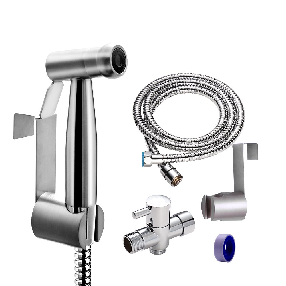 Vataler Adjustable Trigger Handheld Bidet Toilet Sprayer Kit, Brushed Finished Baby Cloth Diaper Water Shattaf Kit & No Leakage 304 Stainless Steel Hose & Solid Brass T-Valve