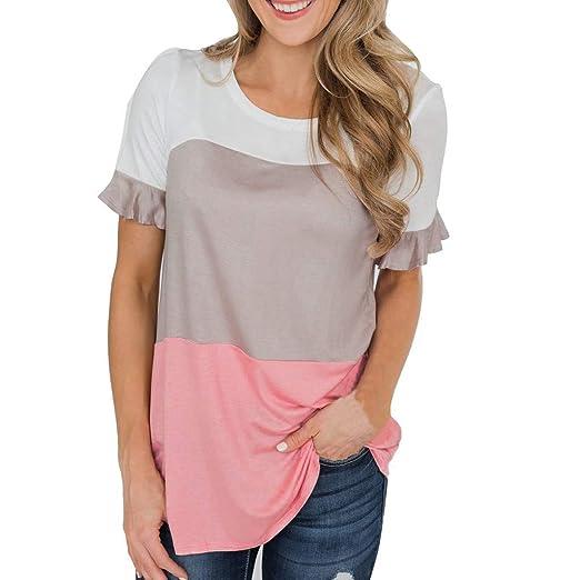 e87fe24ce6ae Amazon.com: Redacel Fashion Womens Patchwork Short Sleeve O-Neck Tee ...