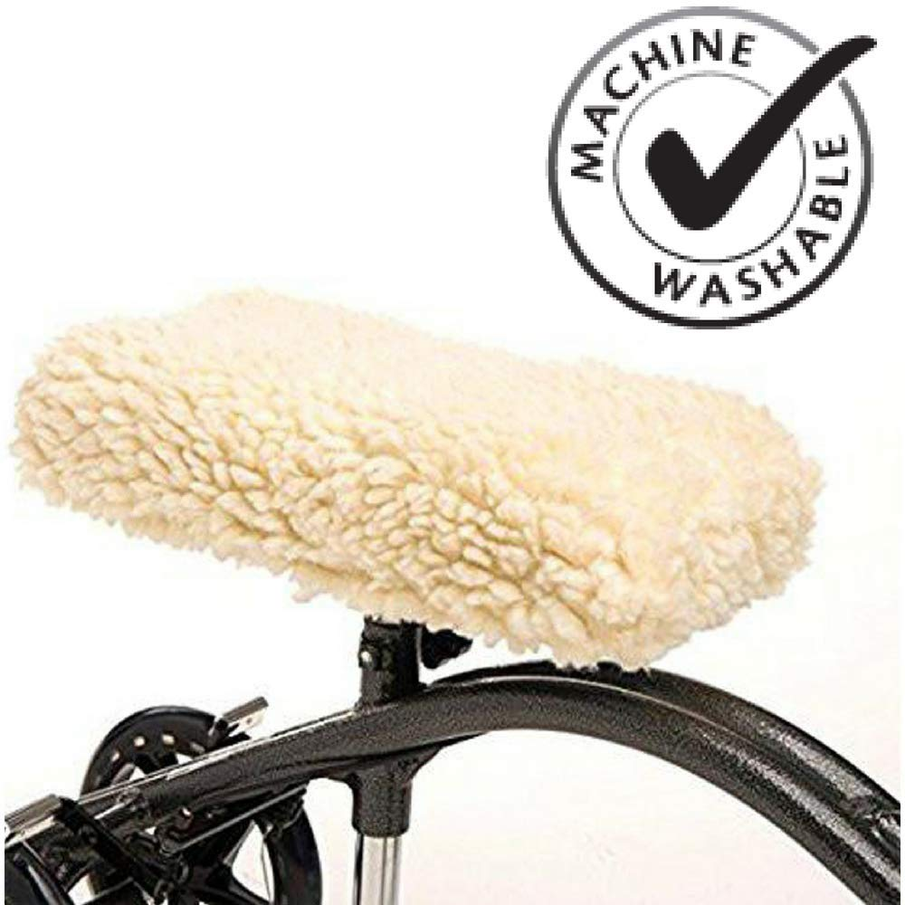 Healthline Knee Walker Pad Universal Cover for Rolling Scooter, Plush Synthetic Sheepskin Cushion Accessory for Knee Scooter, Improves Leg Comfort During Injury, Padded Easily Attaches to Most Knee by HEALTHLINE