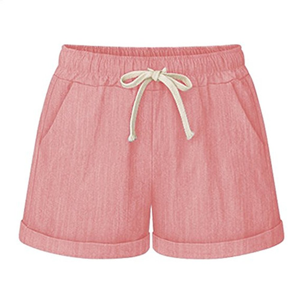 HeFashion Women's Drawstring Elastic Waist Casual Comfy Cotton Linen Beach Shorts(Pink 2XL)