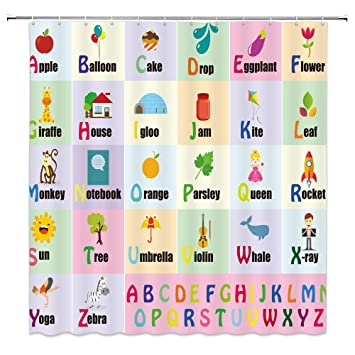 AMHNF Alphabet Shower Curtain for Kids ABC Educational Learning Tool for Boys and Babies Large A to Z Poster Tapestry Fabric Bathroom Curtains,Pink ...