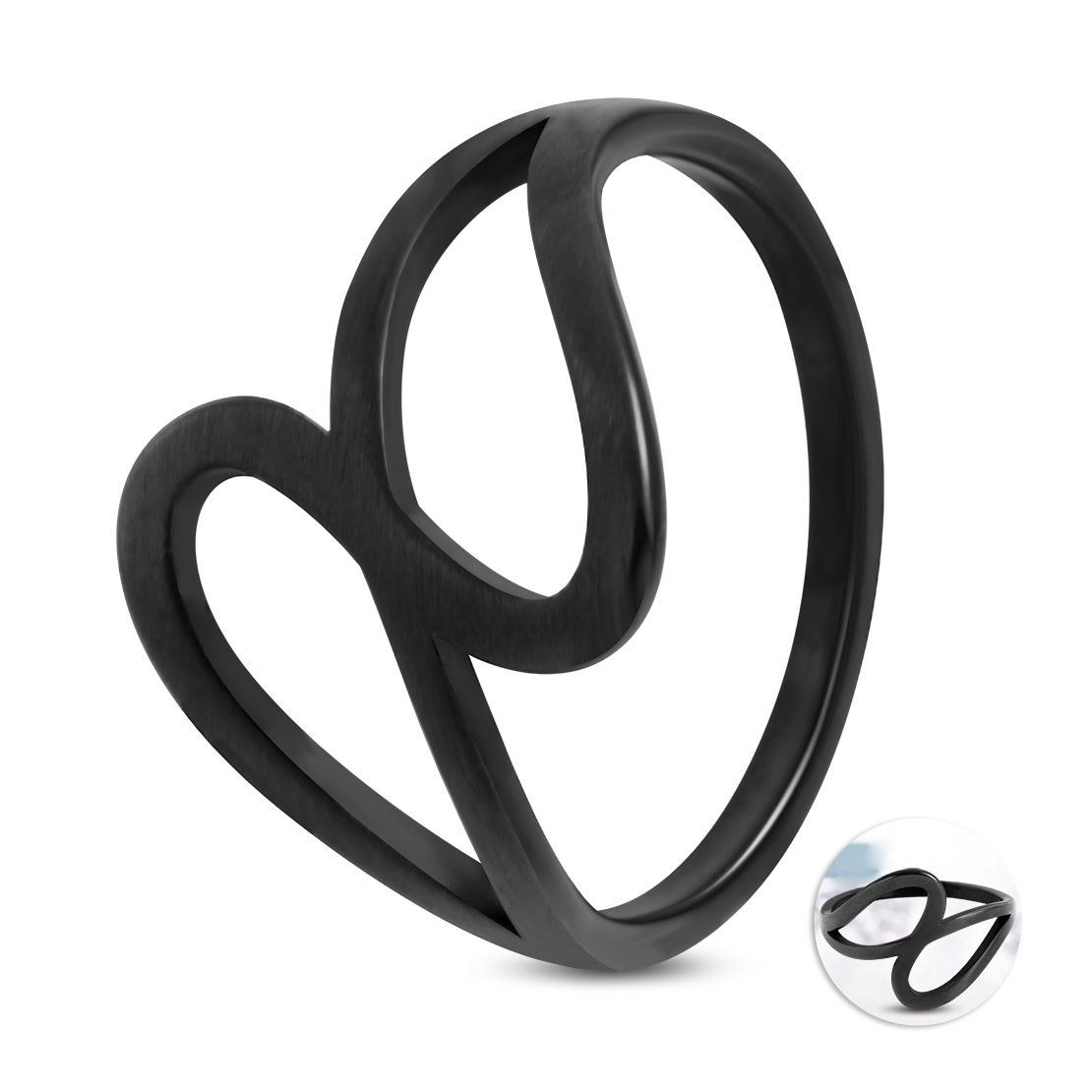 Stainless Steel Black Matte Finished Spiral Oval Fancy Ring
