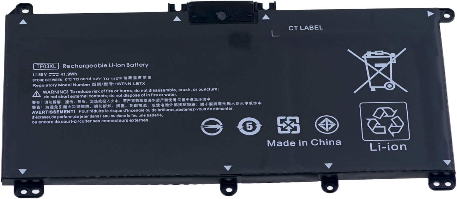 TF03XL New Laptop Battery Compatible for HP Pavilion 15-CC 15-CD 15-CC023CL CC050WM 15-CK 15-CK0XX 17-AR050WM 17-AR050WM 17-AR007CA 14-BF040WM 14-BK000 [ 11.55V 41.9Wh ]-Notebook Battery