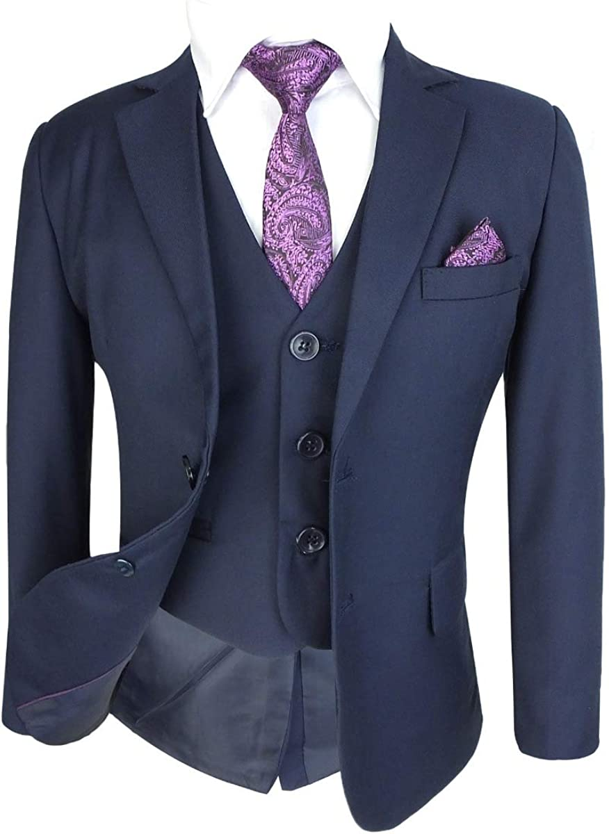 6 Piece Complete Set All in One Boys Formal Wedding Suits