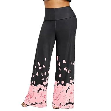 31a59aa5cd7c Amazon.com  UOFOCO Womens Wide Leg Trousers Fashion Loose Pants Casual Plus  Size Rose Petal Printed  Clothing