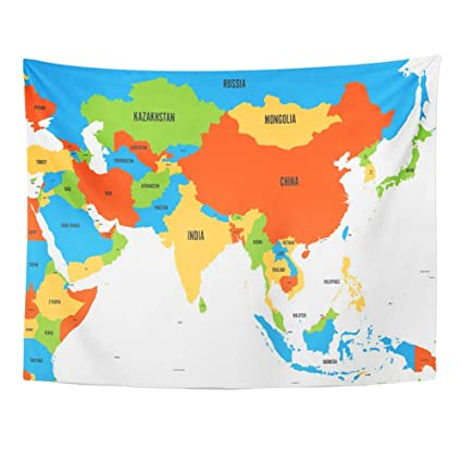 Amazon.com: YGYIRRI Wall Tapestry Colorful Political Map of ...