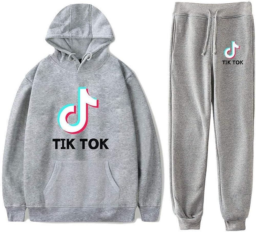 Aibayleef Surv/êtement TIK TOK Tenue de Sport Gymnastique 2 Pieces Sweat et Pantalon Ensemble Couple Vetement Sportwear pour Running Jogging Gym Full Tracksuit Sweatsuit Activewear