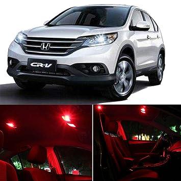 cciyu 8 Pack LED bombilla para 2007 - 2011 Honda CRV LED luces interiores accesorios de repuesto Kit de paquete, color rojo: Amazon.es: Coche y moto