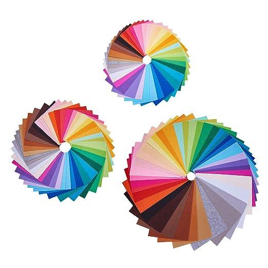 BENECREAT 120PCS 3 Tamano 6x4 /6x6/12x8 Hoja de Tela de Fieltro Suave Color Surtido Paquete de Fieltro DIY Artesania de Costura de Plazas Patchwork No ...