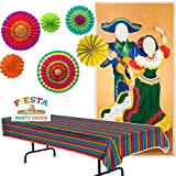 Fiesta Party Decorations - Fiesta Tablecover, 6 Fiesta Paper Fan Danglers, Fiesta Photo Door Banner and Mexican Fiesta Party Game Ideas