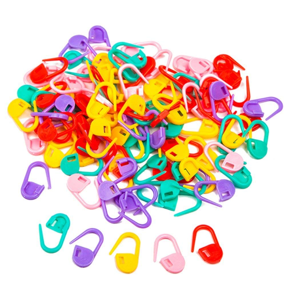 Yevison Knitting Crochet Locking Loop Colorful Crochet Hooks Stitch Needle Clip Greeting Card Craft-100PCS Durable and Useful