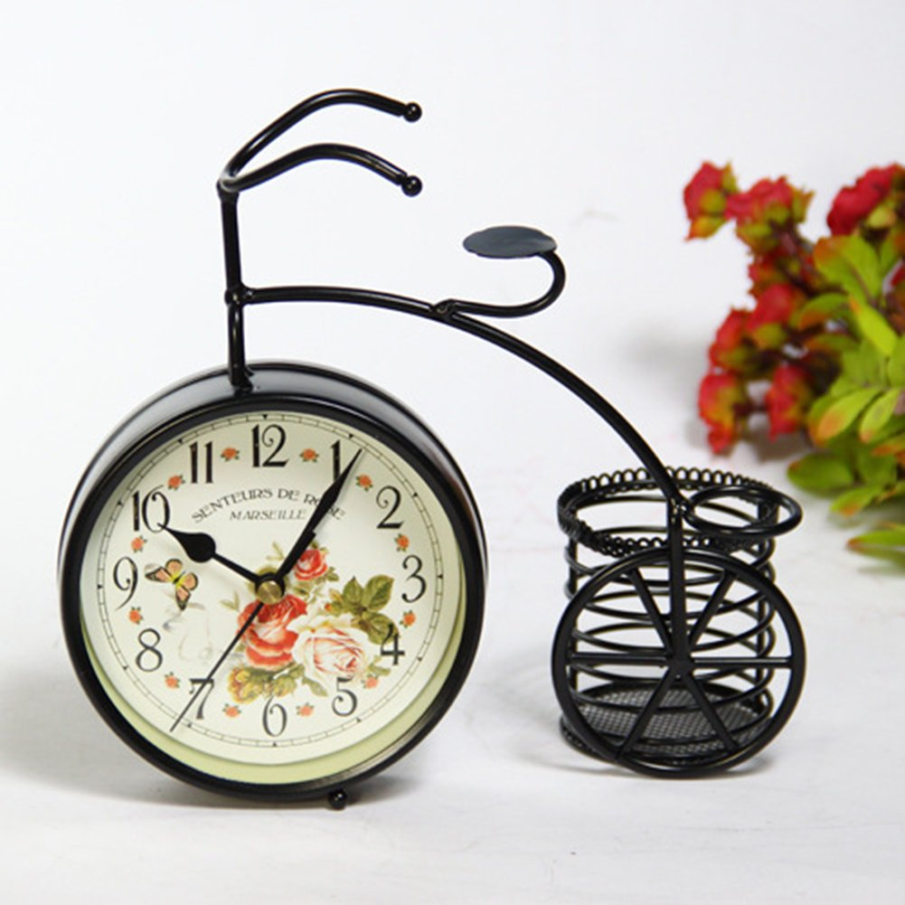 Berry President Generic Vintage Metal Rustic Bicycle Clock Bike Shaped Double Side Table Decorative Clock for Home Decor with Basket