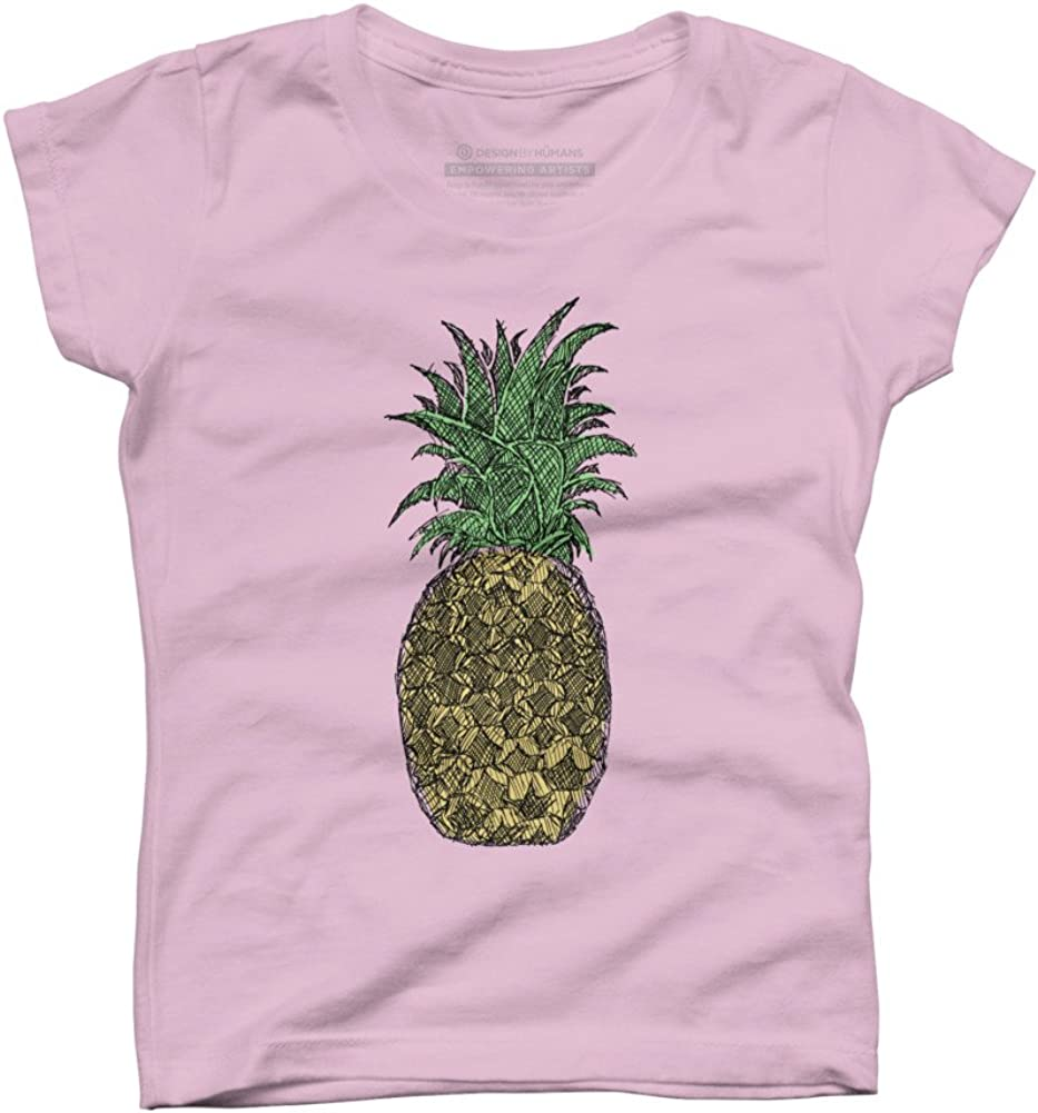 Design By Humans Pineapple Sketch Girls Youth Graphic T Shirt