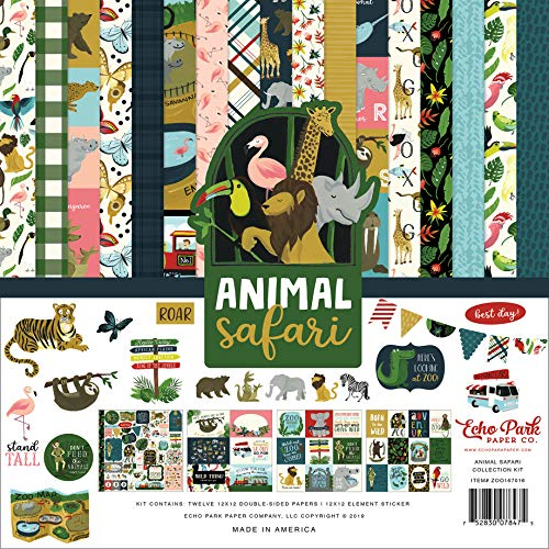 - Echo Park Paper Company ZOO167016 Animal Safari Collection Kit Paper, Green, Navy, Blue, Yellow, red, Pink