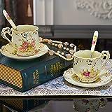Miyare taza de té de cerámica de porcelana taza de té y platillo Set Royal Europea Inglaterra taza de café con cuchara