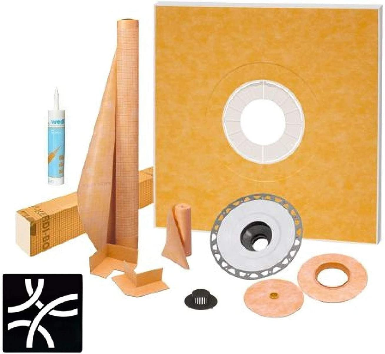 "with 2/"" PVC Bonding Flange KSK1220 Schluter Kerdi Shower Kit 48/"" x 48/"" Shower Tray Wedi Joint Sealant and 4/"" Stainless Steel Curve Matte Black Grate"
