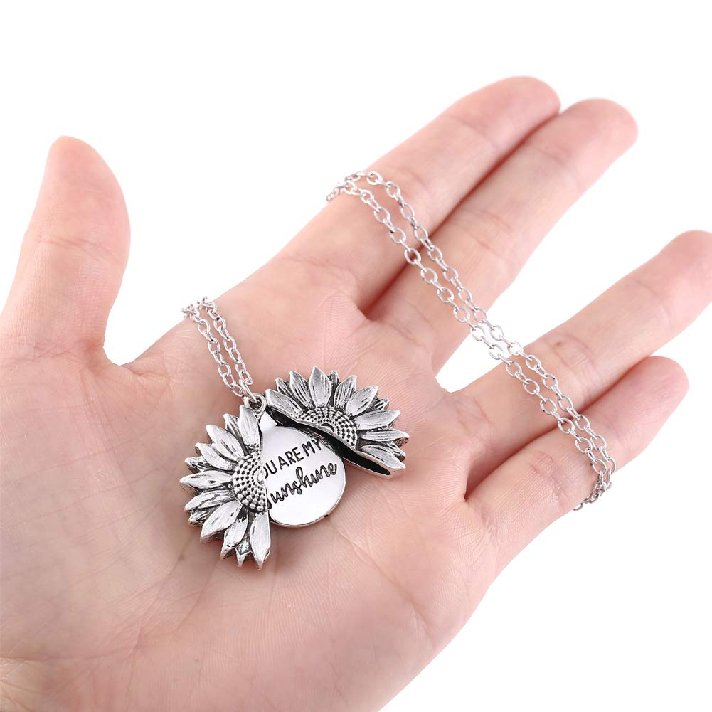 JYH You are My Sunshine Necklace Sunflower Open Locket 14K Gold Plated Necklace Pendant Gifts for Women Girls with Gift Card