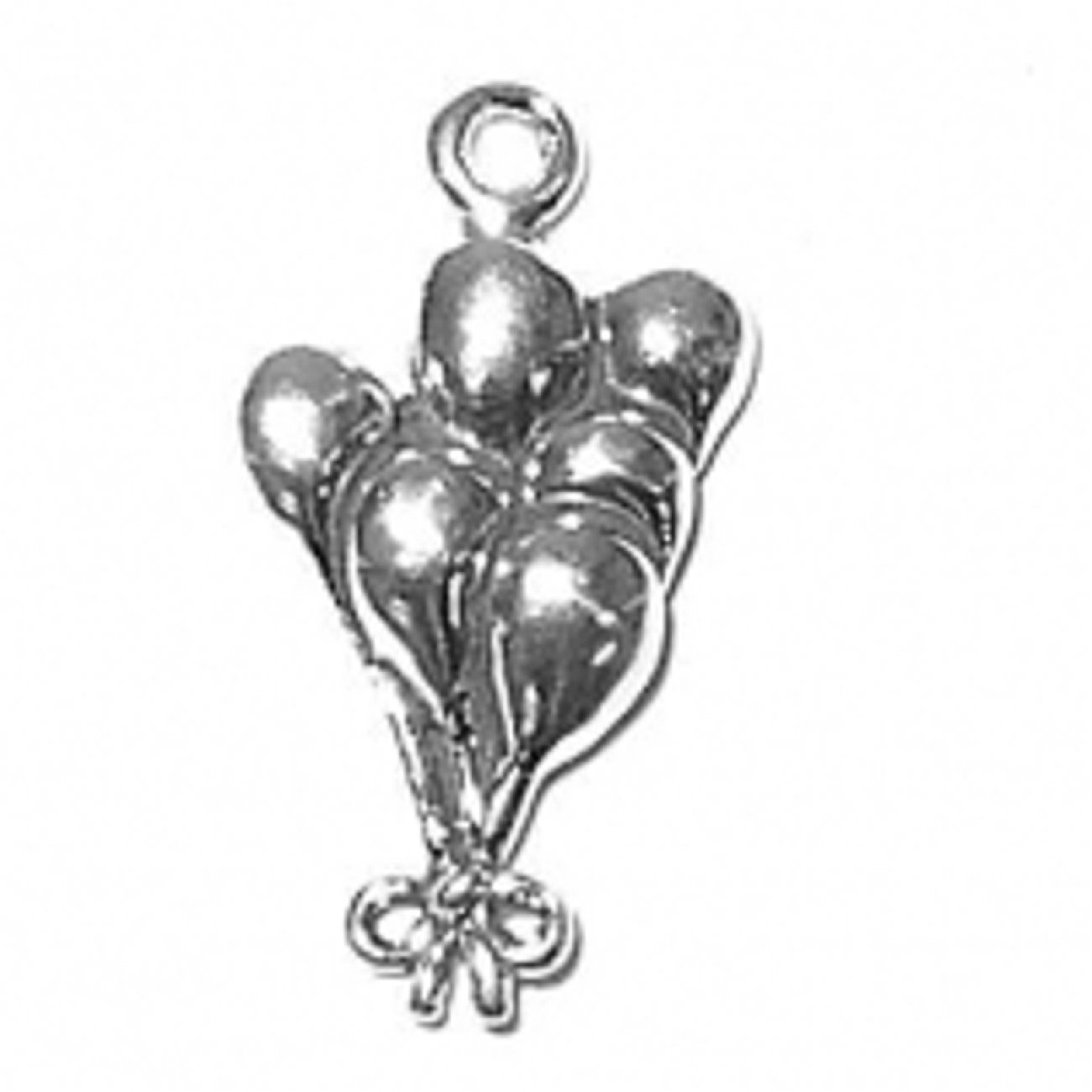Sterling Silver Girls .8mm Box Chain 3D Cluster Of Balloons Pendant Necklace