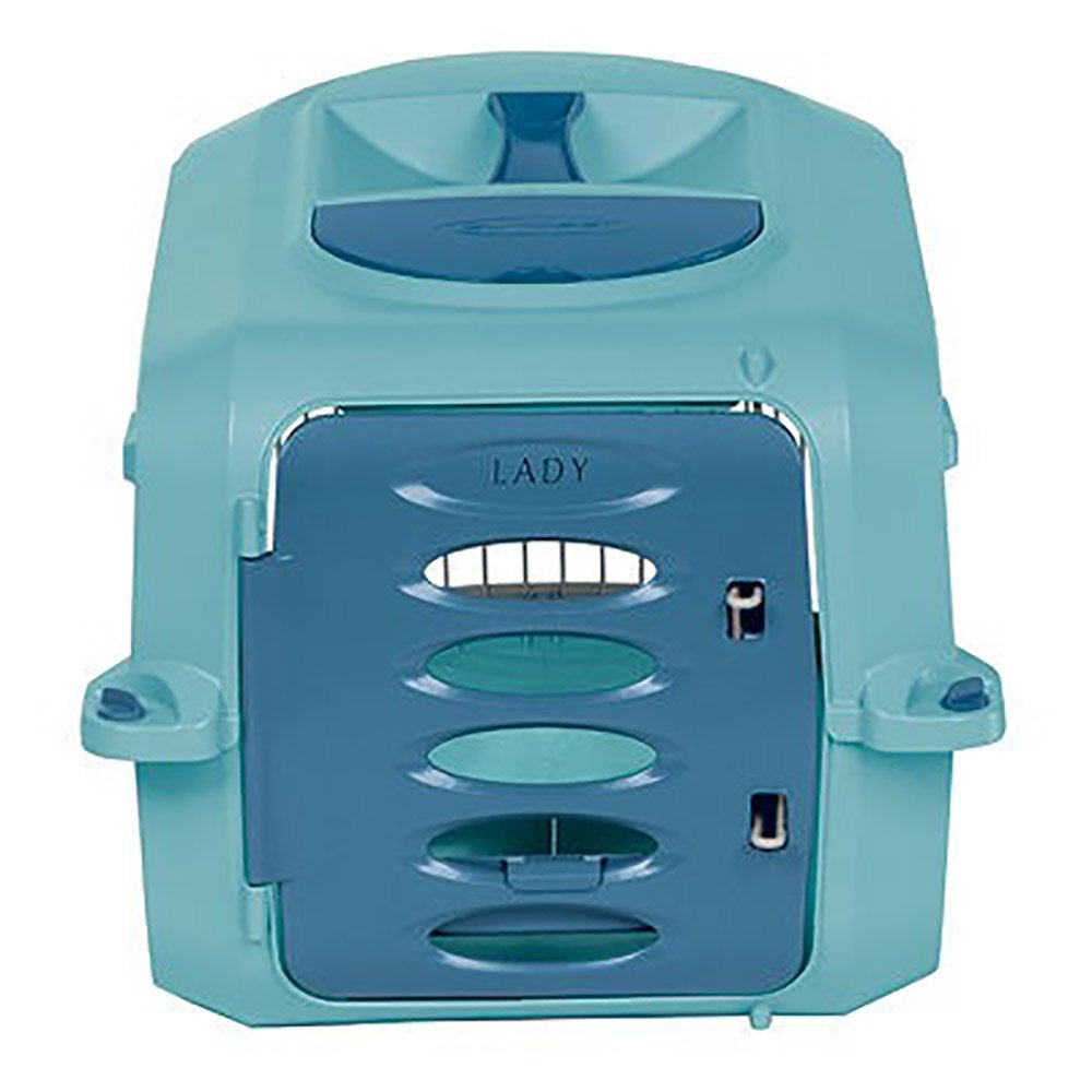Suncast Portable Dog Crate with Handle for Small and Medium Dogs – Bowl Included – Stylish and Durable Portable Pet Carrier – Dogs up to 20 lbs. – Light Blue