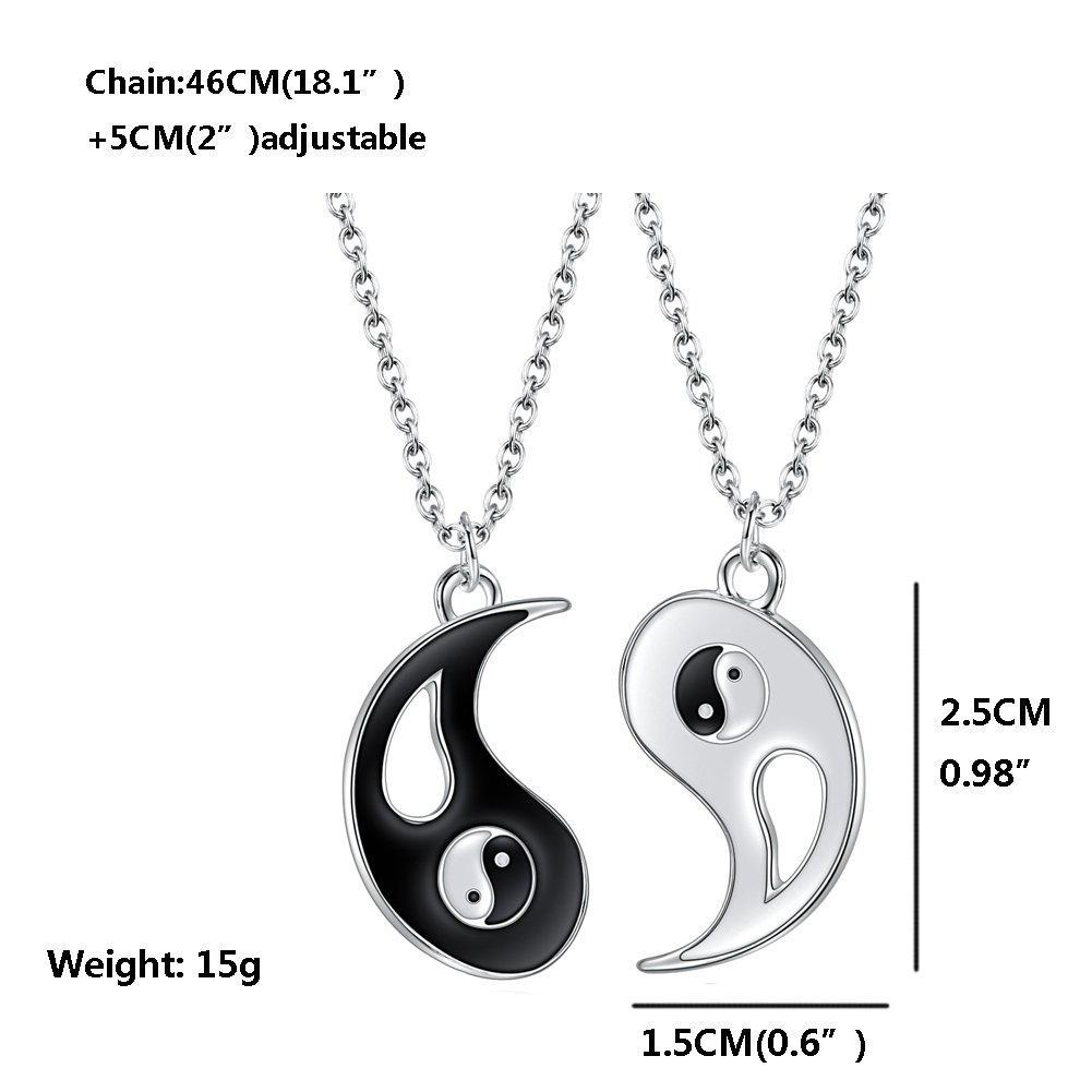 18f22e547c Xianli Wang Jewelry Puzzle Pendant for Boy Girl Best Friends Lovers Couples  Yin Yang Necklace Alloy 2 Pieces: Amazon.co.uk: Jewellery