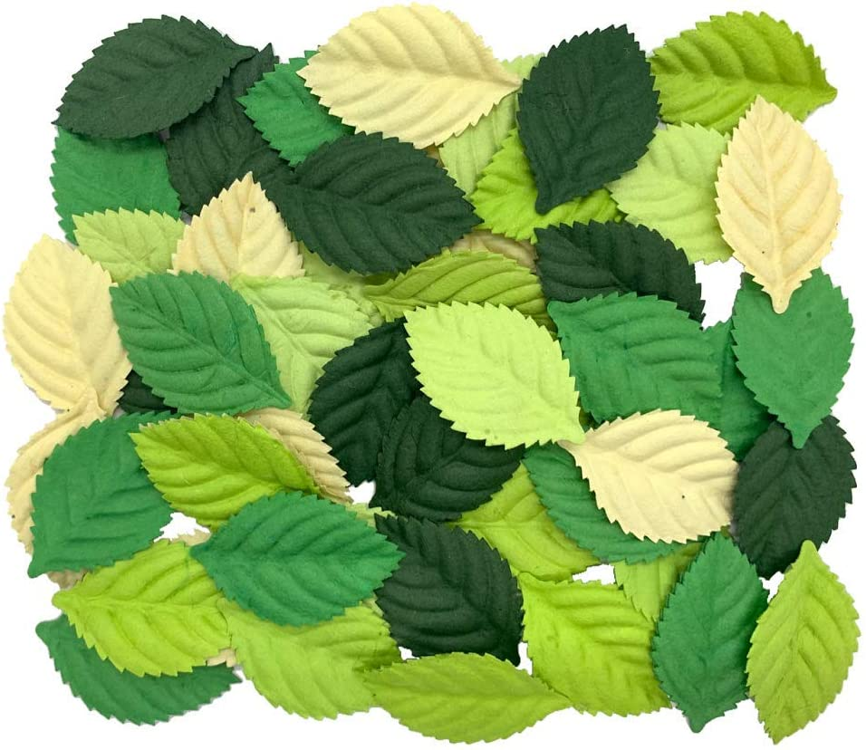 100 pcs mixed Leaves 45x29mm Mulberry Paper Flower Leaves scrapbooking wedding doll house supplies card, (Roses Leaves)