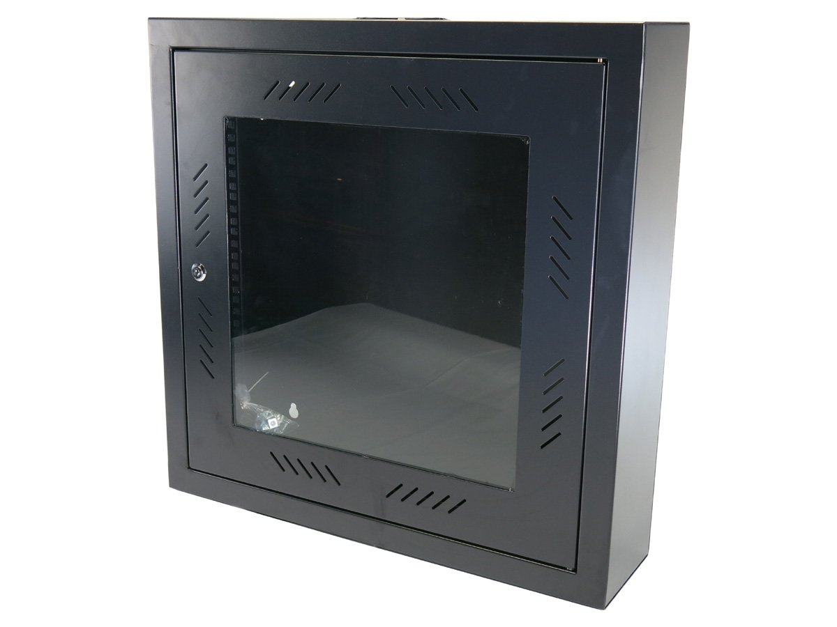 CNAweb 12U 19'' Slim SoHo Wall Mount Rack Cabinet Enclosure 6'' Depth - Black