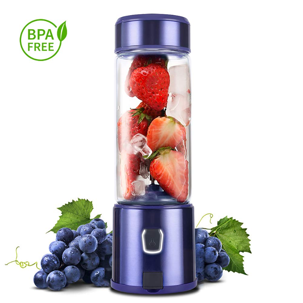 Portable Glass Smoothie Blender, Kacsoo SPOW S650 USB Rechargeable Personal Blender Juicer Cup, Single Serve Travel Blender for Shakes and Smoothies, with 5200 mAh Rechargeable Battery (Purple) by Kacsoo