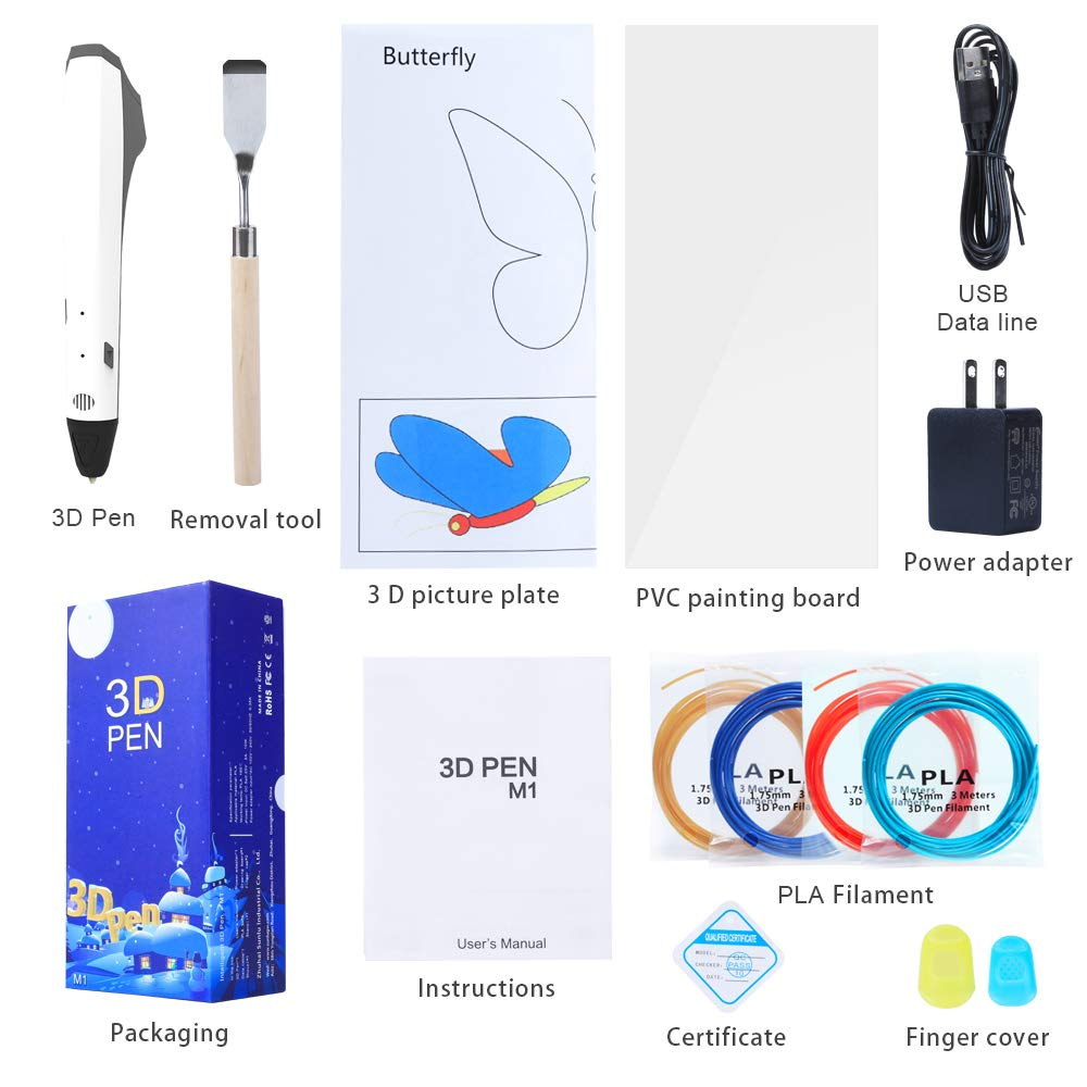 3D Printing Pen Advance Model SL-600,White 3D Printing Pen Kit Coming with 3D Pen+4 Pack of PLA Filament+Stencil+Drawing Board+Shovel+2 Fingertip Protector+USB Cable+Adapter