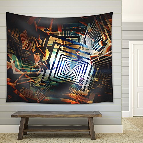 Colorful Abstract Geometric Background Digital Painting Fabric Wall Tapestry