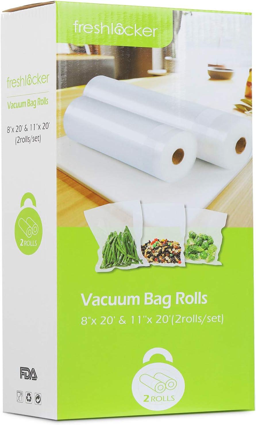 Freshlocker Vacuum Sealer Rolls, 2 Rolls 28cm X 6m & 20cm X 6m Combo Food Saver Bags Rolls for Food Preservation Sous Vide Cooking and All Vacuum Sealer Machine, Reusable BPA Commercial Grade