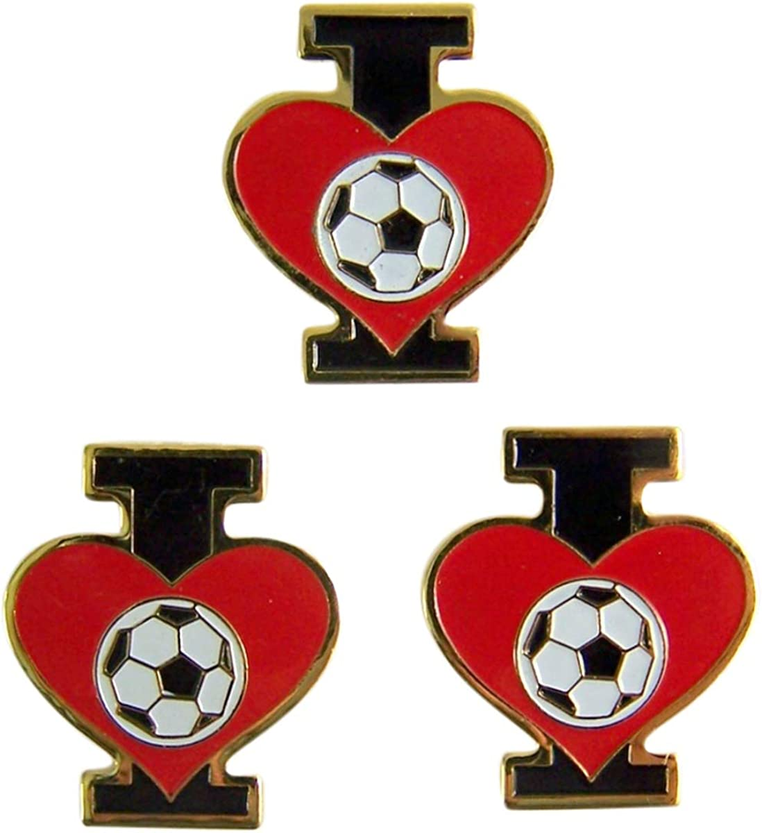 I Love Soccer Heart Lapel Pins, 12/12 Inch, Pack of 12