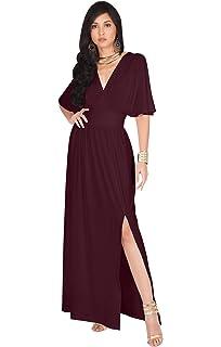 b2296f9e78f0 KOH KOH Womens Long Sexy Kimono Short Sleeve Slit Wrap V-Neck Gowns Maxi  Dress