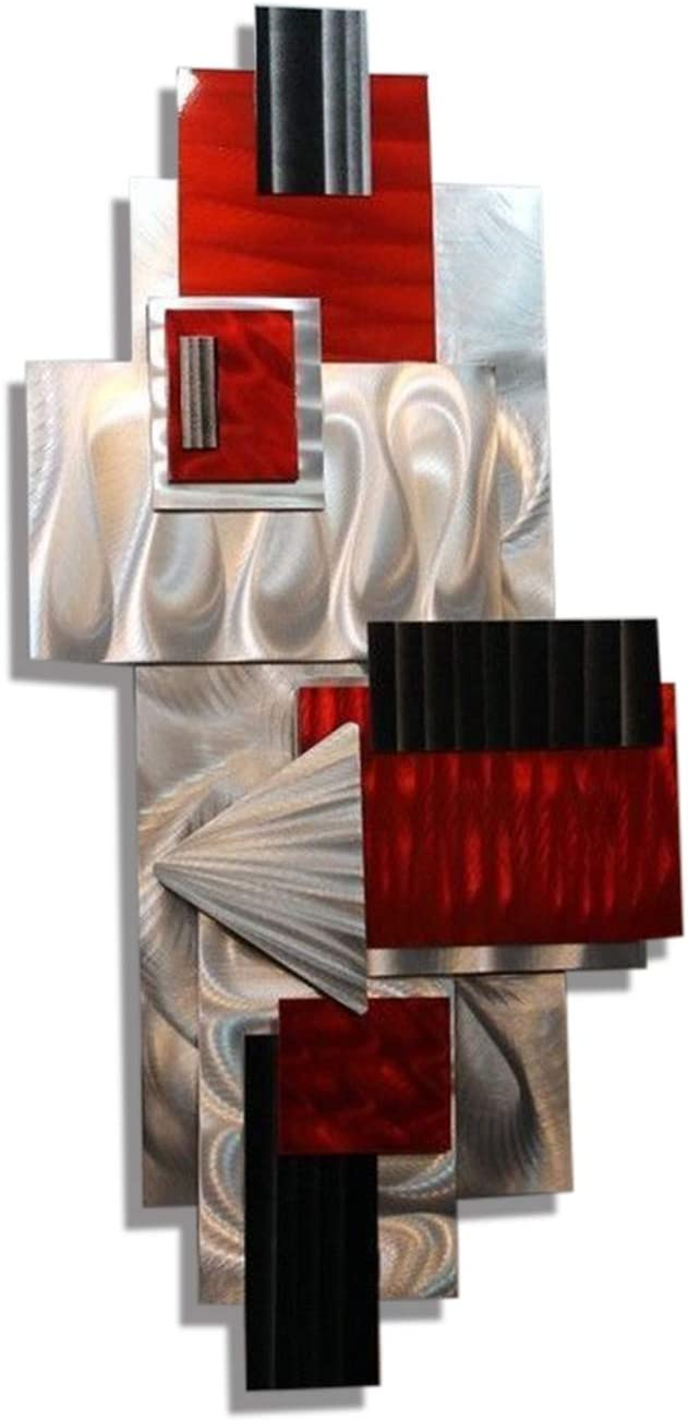 Statements2000 Silver, Red, Black Geometric Abstract Wall Sculpture - Modern Metal Art - Contemporary Home Accent Decor Hanging Office Art - Red Bird by Jon Allen