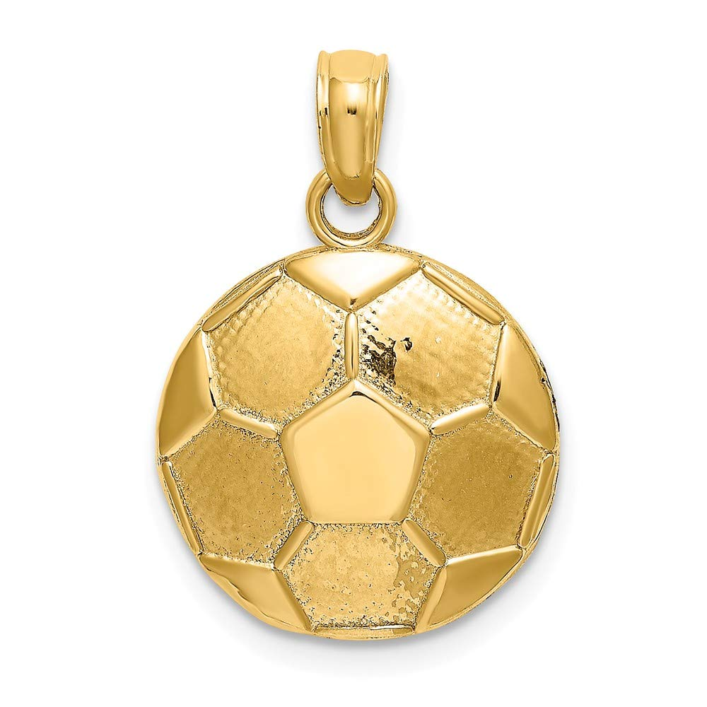 Colgante de balón de fútbol de oro amarillo de 14 K 2-D grabable ...