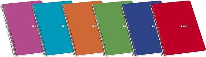 Enri 100430104 - Cuaderno rayado, A5, 80 hojas, Pack 10 Cuadernos, colores aleatorios, 4º: Amazon.es: Oficina y papelería