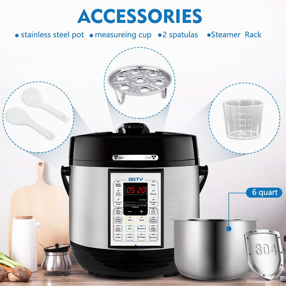 BSTY Premium 6 Quart Pressure Cooker with 13-in-1 Cook Modes Including Slow Cooker and Manual Electric Pressure Cooker Stainless Steel