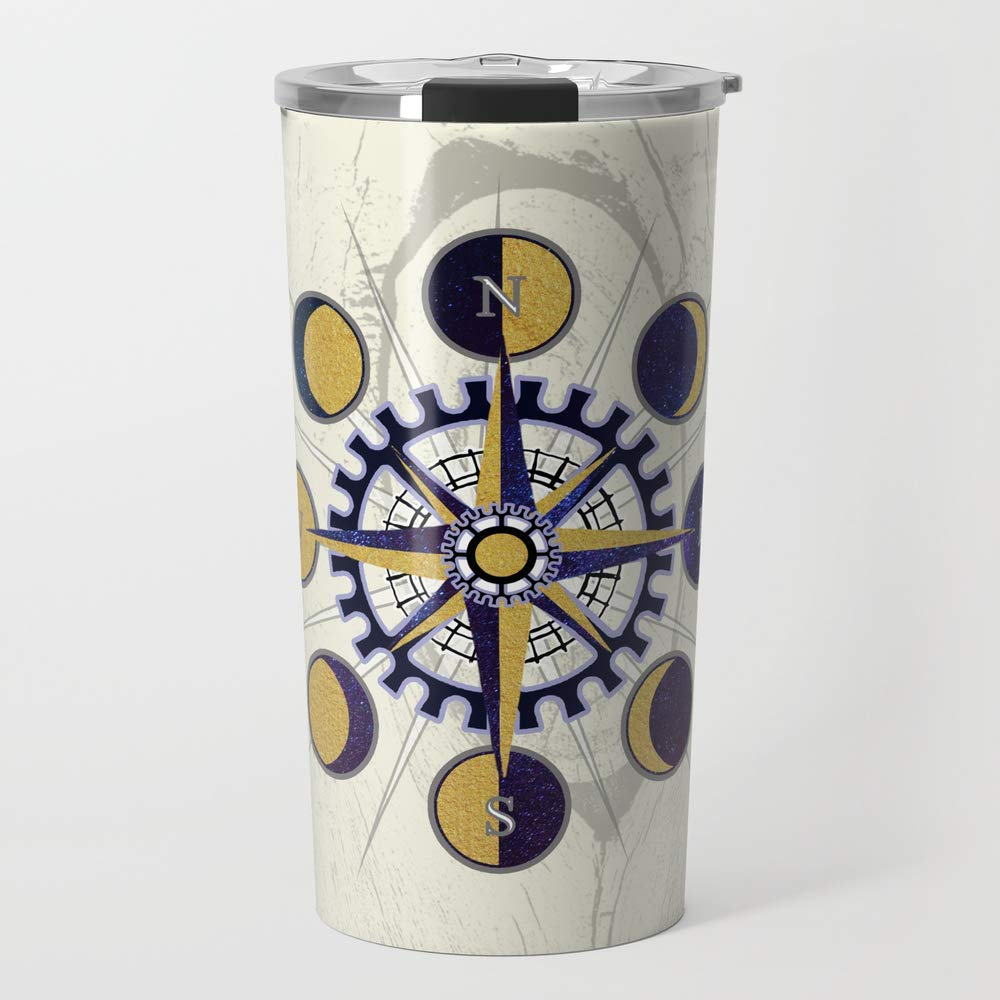 Society6 Stainless Steel Travel Coffee Mug, 20 oz, Solar Compass by astrablink7