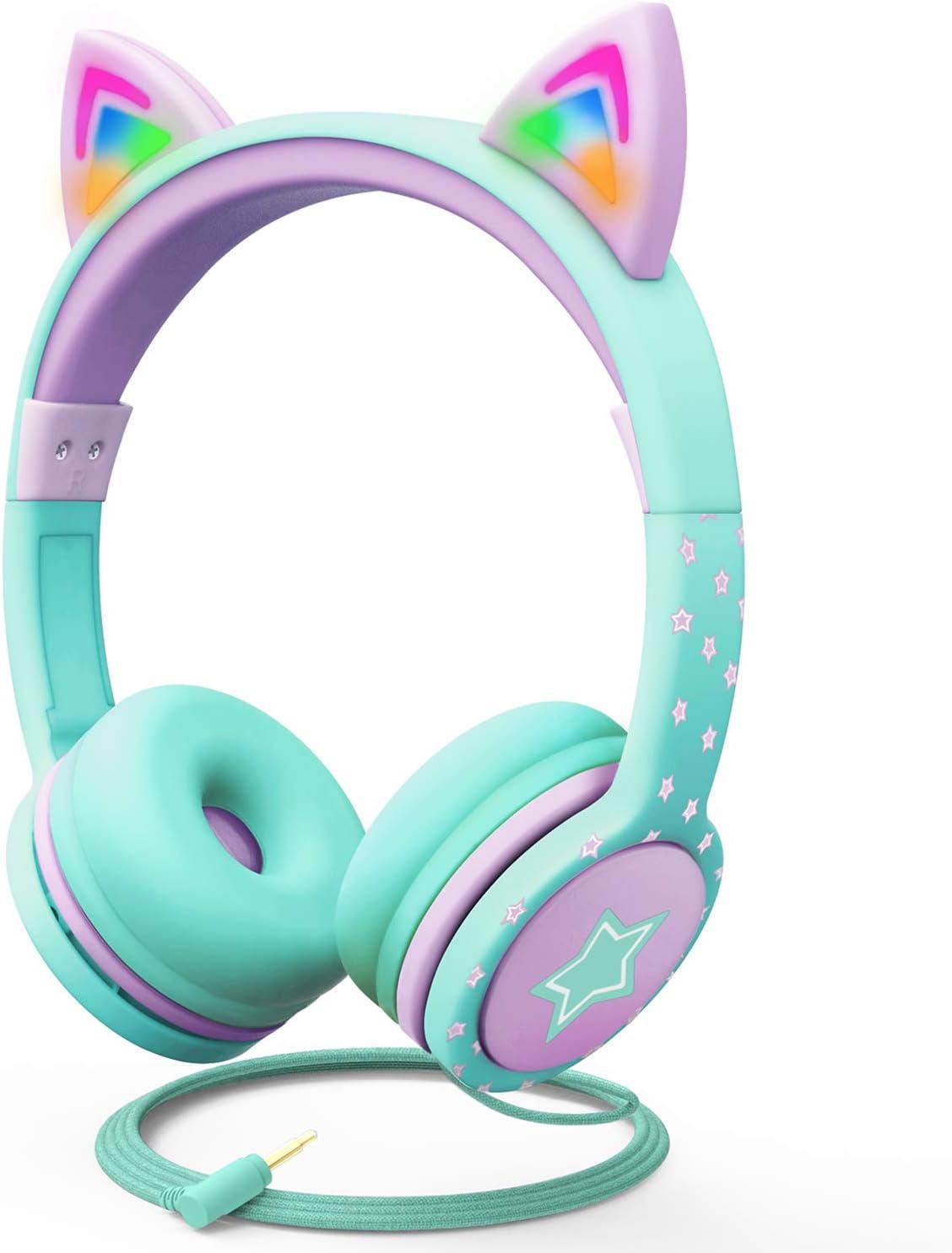 FosPower Auriculares para niños con Orejas de Gato con luz LED, Auriculares de Audio de 3,5 mm en la Oreja para niños con Cable sin enredos (máx. 85dB) - Turquesa/Morado Claro