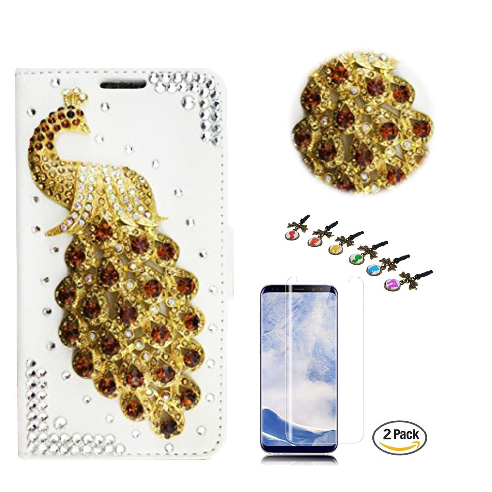 STENES Galaxy S8 Active Case - STYLISH - 3D Handmade Crystal Peacock Design Wallet Credit Card Slots Fold Media Stand Leather Cover for Samsung Galaxy S8 Active with Screen Protector - Gold