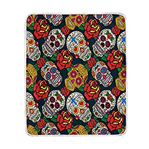 ALAZA Home Decor Floral Print Sugar Skull Vintage Soft Warm Blanket for Bed Couch Sofa Lightweight Travelling Camping 60 x 50 Inch Throw Size for Kids Boys Women
