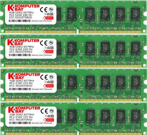 Komputerbay 16GB 4X4GB DDR2 667MHz PC2-5300 PC2-5400 DDR2 667 (240 PIN) ECC Registered DIMM Desktop Memory 16 ()