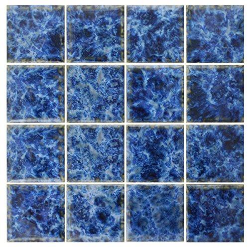 (5 SF 3x3 Sea Blue Tile for Wall Spa Swimming Pool Shower Kitchen Countertop Bathroom Sink Backsplash)