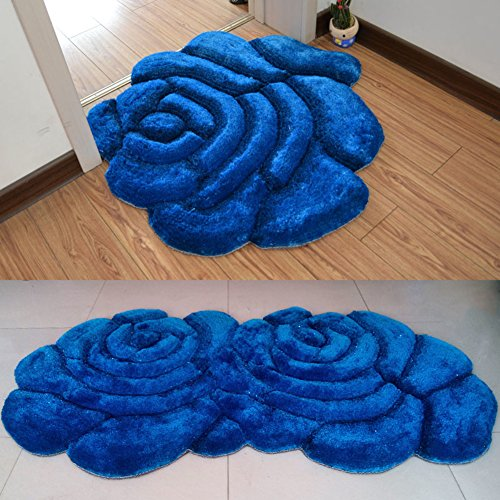 Round the living room bedroom bed hanging basket swivel chair computer Chair mat/ roses room wedding door mats for children-blue 70x140cm(28x55inch)