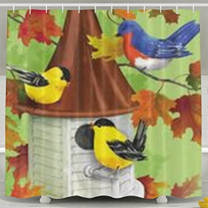 ALDFK Personalized Waterproof Shower Curtain Fall Birdhouse Bathroom Curtains 60x72 Inches