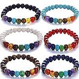 Yunanwa 6 Pack Set Men Women 8mm Lava Rock 7 Chakras Beads Bracelet Elastic Natural Stone Yoga Bracelet Bangle Couple Lover Friendship (6pcs-color Lava Rock)