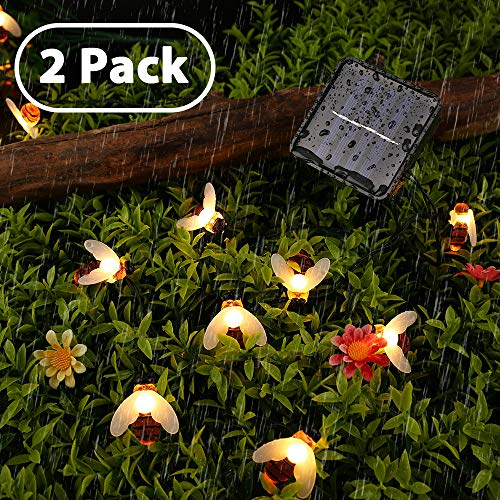 Joomer 2 Pack Honeybees Solar Garden Lights, 19.7ft 30 LED 8 Modes Solar String Lights Waterproof Fairy Lights for Patio, Lawn, Garden, Wedding, Party, Christmas Decorations [Warm White]